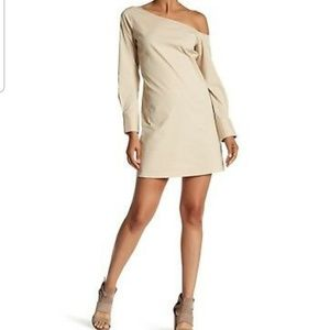 Theory Beige Ulrika B Off One Shoulder Dress 10